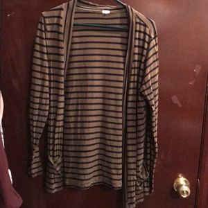 J. Crew green and navy striped cardigan